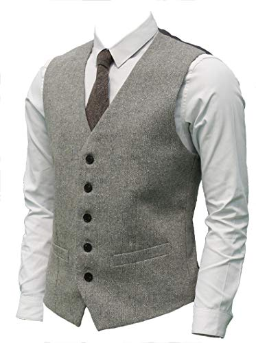 Ruth&Boaz 2Pockets 5Buttons Wool Herringbone Tweed Business Suit Vest (M, Tweed Grey)