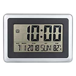 Onepeak LCD Digital Large Wall Clock Thermometer Desk Calendar Time Alarm Electronic Indoor Home Temperature Meter