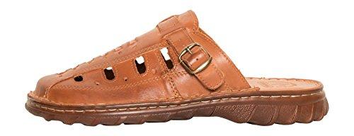 Herren Bequeme Sandalen Schuhe Mit Der Orthopadischen Einlage Aus Echtem Buffelleder Hausschuhe Modell 870 Kognak