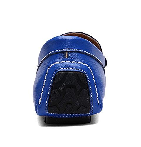 SK Studio Hombre Mocasines Zapatos Del Barco Respirable Calzado de Cuero Zapatos de Conducción Mocasine Azul