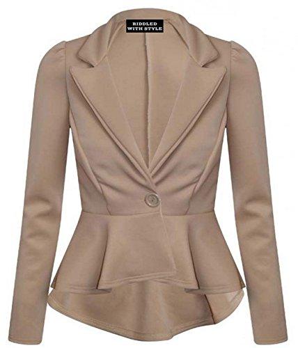 Moca Wheel Woman New Wrap T Stepper shirt d'ufficio Peplum With Lavoro Jacket per p7xOIwqa
