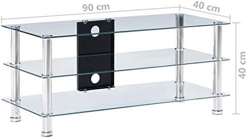 Festnight Mueble de Televisor Vidrio Templado Transparente Mesas ...