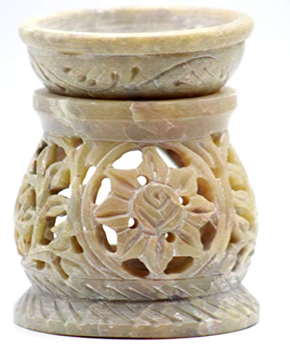 """3.5"""" Handcrafted Aroma Lamp Soapstone Flower Carved Essential Incense Oil Burner/Oil Diffuser for Fragrance and Aromatherapy- by Crystal Collection"""