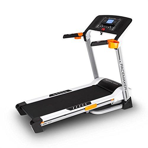 Capital Sports Pacemaker X20 Profi Laufband elektrisch mit Monitor (klappbar, 16km/h / 4PS Motor, gedämpfte Lauffläche, 16% einstellbarer Steigung, 16km/h, 25 Trainingsprogramme, Trainingscomputer, Handpulsmesser) silber