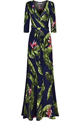 Bon Rosy Women's Silky Stretchy 3/4 Sleeve Deep V-Neck Floral Printed Maxi Faux Wrap Dress Navy L ()