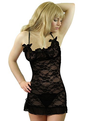 Yummy Bee Womens Lace Chemise Bridal Lace Babydoll Set Satin Bows Thong Size 4 (Bridal Satin Lace Thong)