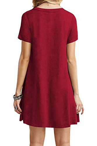 YMING-Womens-Casual-Short-Sleeve-Multicolor-Loose-T-Shirt-Dress-XS-4XL
