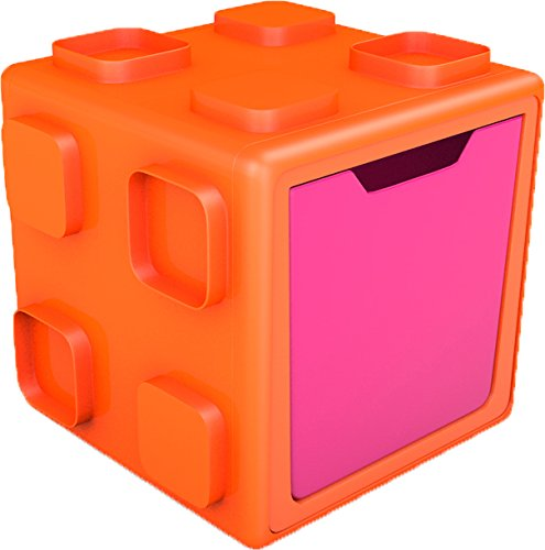 (Chillafish BOX: Connectable Toy Storage and Play System, Orange/Pink)