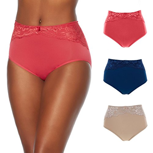 Rhonda Shear Ahh by Seamless Brief 3-Pack with Lace Overlay Panty (Fashion, XL)