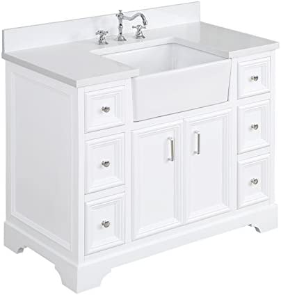 Zelda 42-inch Bathroom Vanity Quartz White Includes a Quartz Countertop