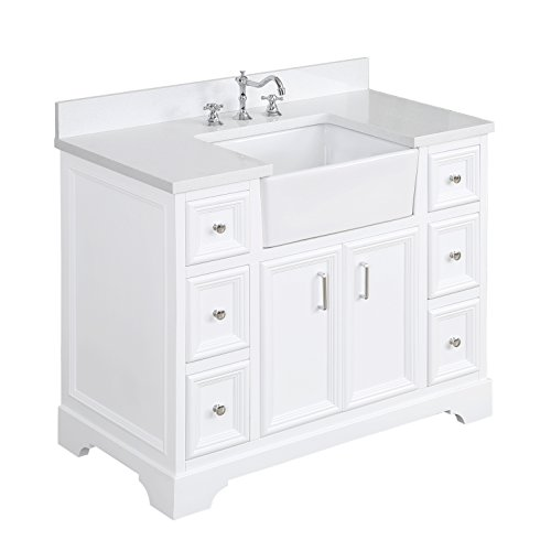 Zelda 42-inch Bathroom Vanity Quartz White Includes a Quartz Countertop, White Cabinet with Soft Close Doors Drawers, and White Ceramic Farmhouse Apron Sink