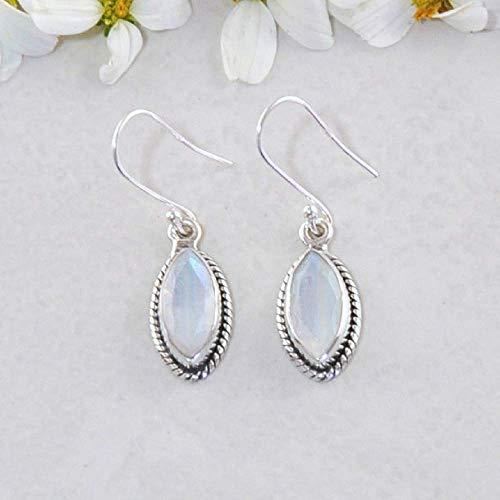 Sivalya 2.00 Ct Marquise Natural Moonstone Earrings in 925 Sterling Silver - Genuine Gemstone Solid Silver French Hook Dangle Earrings 1.25