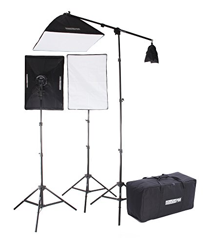 Fovitec StudioPRO Photography Photo Video Studio Continuous Two 5 Socket Heads 20''x28'' Softbox With One EZ Setup 20''x28'' Soft box Boom Arm, 3600 Watt Lighting Kit by Fovitec