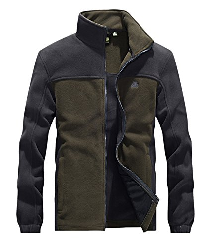 Chartou Men's Casual Color-Block Stand Collar Sports Tactical Fleece Jacket (Large, Army Green)