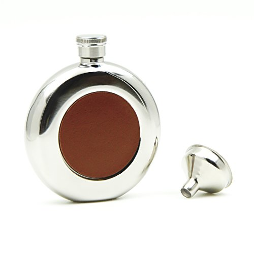 Leather Round Flask - iSavage 5oz Classic Round Hip Flask and Brown Leather Mirror Finished with a Funnel 18/8 Stainless Steel-YM118