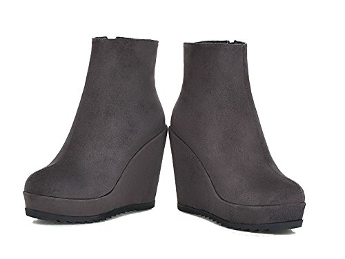 Chiusa Stivali Donna Stringata Shoes Grigio Punta AgeeMi Zeppa Tonda Scamosciati q7Zt8U7Wc