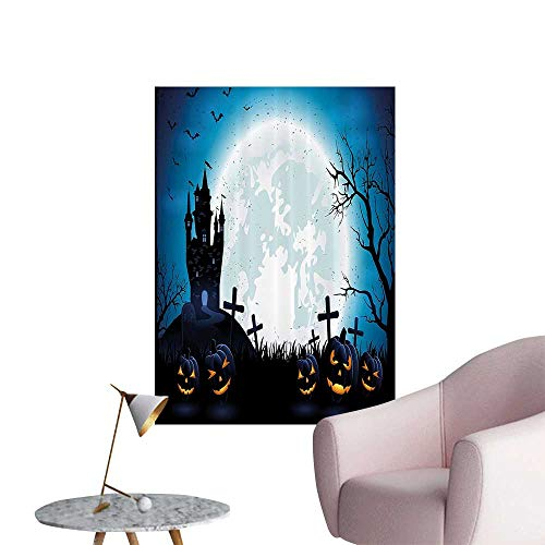 Wall Painting Spooky Ccept with Halloween ICS Old Celtic Harvest Festival Figures High-Definition Design,32