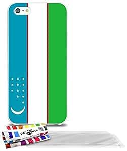 """Carcasa Flexible Ultra-Slim APPLE IPHONE 5 de exclusivo motivo [Uzbekistan Bandera] [Blanca] de MUZZANO  + 3 Pelliculas de Pantalla """"UltraClear"""" + ESTILETE y PAÑO MUZZANO REGALADOS - La Protección Antigolpes ULTIMA, ELEGANTE Y DURADERA para su APPLE IPHONE 5"""