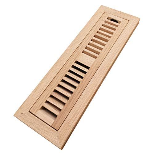Red Oak Flush Mount Floor - Homewell Red Oak Wood Floor Register Vent Cover, Flush Mount Vent with Damper, 2X12 Inch, Unfinished