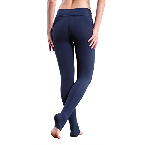 Charaland High Waist Athletic Leggings Fitness Pants Compression Leggings Navy S