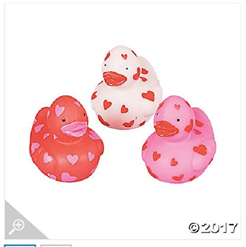 Vinyl Mini Valentine Rubber Duckies; Pack of 24