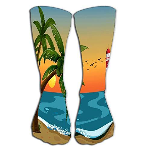 zengjiansm Outdoor Sports Men Women High Socks Stocking Beach Beautiful View Ocean Lighthouse Abstract Tile Length 19.7