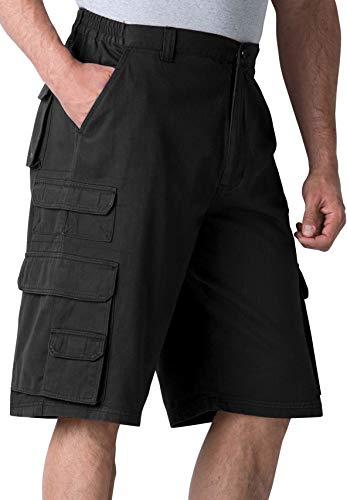 Boulder Creek Men's Big & Tall Side-Elastic Twill Cargo Shorts, Black - Cargo Length Shorts