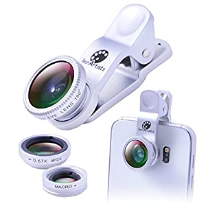 Phone Lens Kit 3 in 1 Clip-On+180° Degree Fisheye Lens+0.67 Wide Angle Lens+10X Macro Lens for iPhone, Samsung Galaxy, iPad, Android Devices and Smartphones with Flat Camera by TechArtists