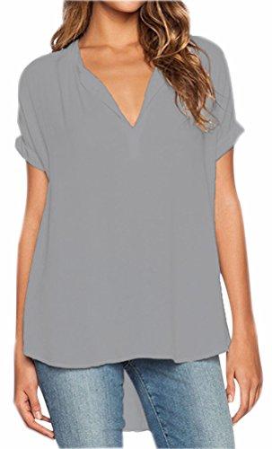 Camicette Grigio Camicia V Chiffon Corta Blusa T Shirt Camicetta Camicie Manica Casual Collare Orlo Donna Irregolare Tops Camicetta Fuxiang Shirt Bluse C4tRwxqq