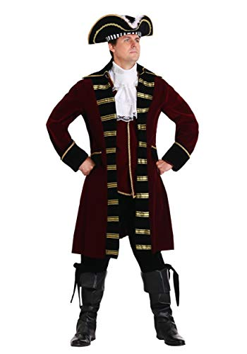 Plus Size Deluxe Captain Hook Costume Men's Pirate Costume 3X Red ()