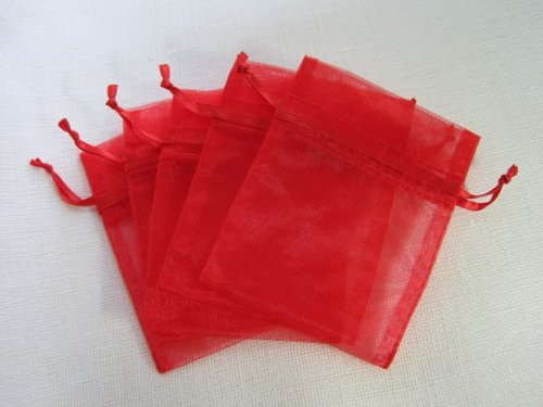 MyCraftSupplies Premium Organza Bags 20x21 Inch 10-Pack Gift and Storage Bags (Red) by MyCraftSupplies