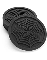 """Silicone Coasters for Drinks - 6 Pack Unique Design Spider Drink Coasters, 4"""" Black Coaster Set by COASTERFIELD"""