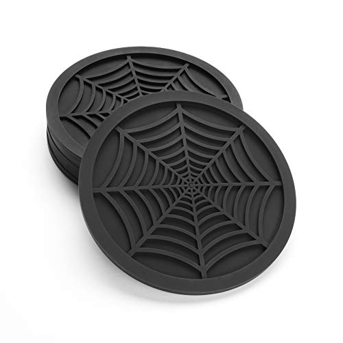 Silicone Coasters For Drinks – 6 Pack Unique Design Spider Drink Coasters, 4″ Black Coaster Set by COASTERFIELD