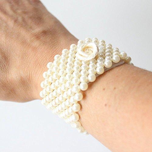 Corsage Wristlet Bracelet Champagne Pearl