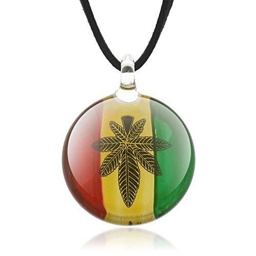 SUVANI Hand Blown Venetian Murano Glass Marijuana Leaf Rasta Reggae Round Pendant Necklace, 18-20 inches ()