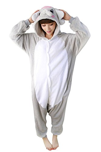 [Women Mens's Animal Kigurumi Grey Elephant Oneise Costumes Halloween Partywear Warm Outfit Large] (Animal Costumes Coupon Code)