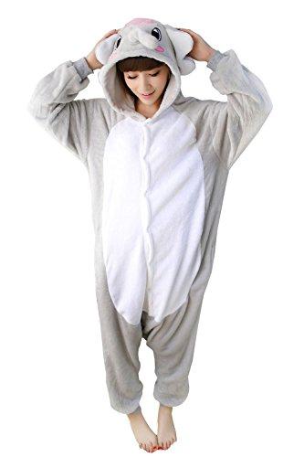 Adults Kigurumi Grey Elephant Onesie Pajama Cute Animal Costume Cospaly Partywear Outfit Homewear (Elephant Onesies For Adults)