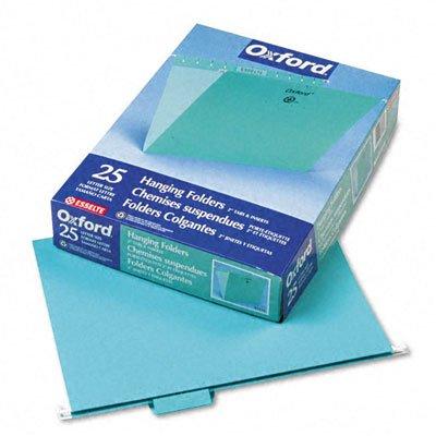 Colored Hanging Folders, 1/5 Tab, Letter, Aqua, 25/box