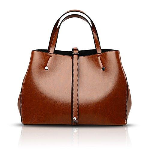 Nouveaux Bag Sacs Sac Messenger Tisdaini Dames épaule capacité de Marron à Seau Main 2018 Grande en PU Sacs Main rétro à Cuir wBaEY