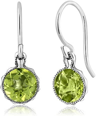 1.80 Ct Natural Green Peridot Gemstone Birthstone 925 Sterling Silver French Wire Women's Earrings