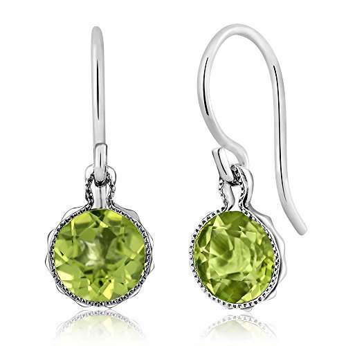 Gem Stone King 1.80 Ct Green Peridot Gemstone Birthstone 925 Sterling Silver French Wire Women's -