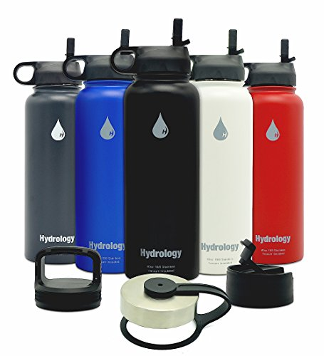 Hydrology 40 oz with 4 LIDS Double Wall Vacuum Insulated Stainless Steel Water Bottle Flask - Keeps COLD and HOT