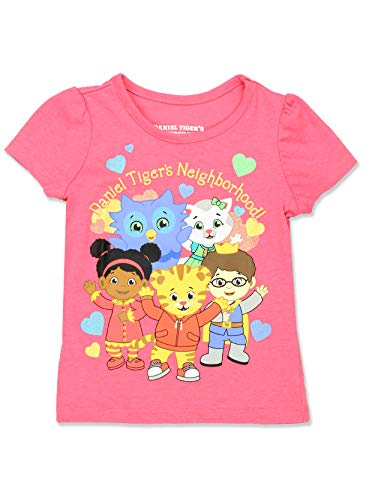 Daniel Tiger Toddler Girls Short Sleeve Tee T-Shirt (3T, Pink/Multi)]()