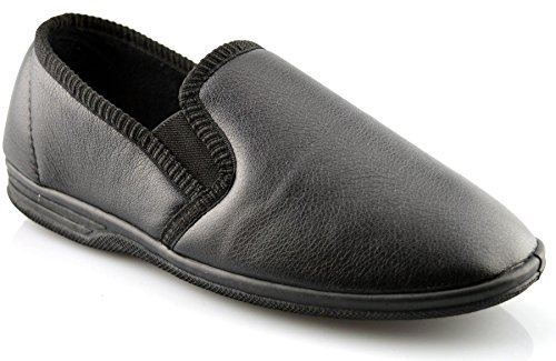 Caballeros nuevo en caja deslizante Piel Sintética Doble Costura Pantuflas Zapatos número 6-14 Negro
