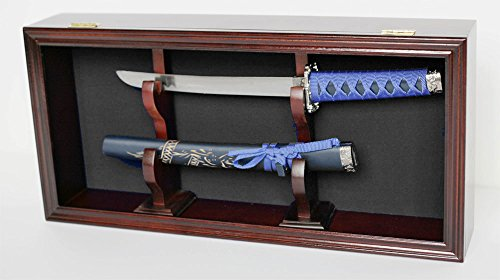 Display Case Wall Mounted Cabinet for Dagger Knife or Short Sword, Mahogany Finish. (Black Felt Background)