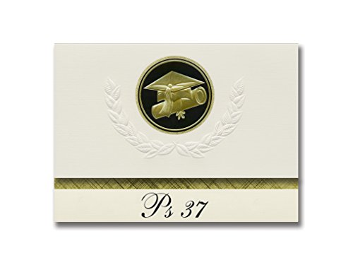 Signature Announcements Ps 37 (Staten Island, NY) Graduation Announcements, Presidential style, Elite package of 25 Cap & Diploma Seal Black & Gold