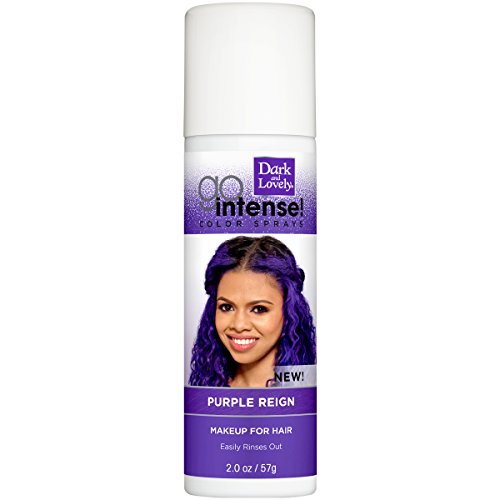 Temporary Hair Color by SoftSheen-Carson Dark and Lovely, Go Intense Color Sprays, Hair Color Spray for Instant and Ultra-vibrant Color even on Dark Hair, For Natural and Relaxed Hair, Purple Reign -