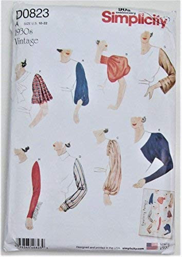 (Simplicity 1930s Vintage Sz 10-22 Sleeves with bodice guide included )