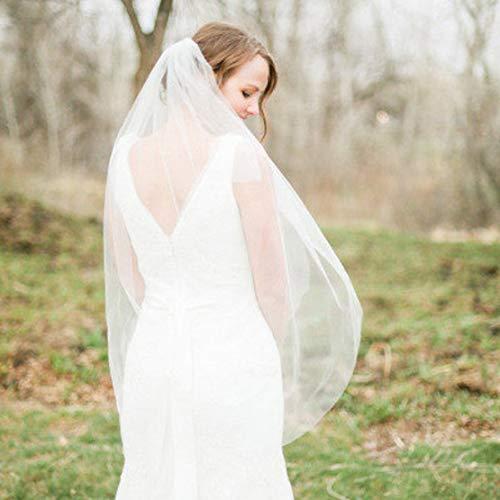 Fangsen Wedding Bridal Veil with Comb 1 Tier Bridal Fingertip veil (Fingertip&Cathedral Length) (Fingertip Light Ivory)