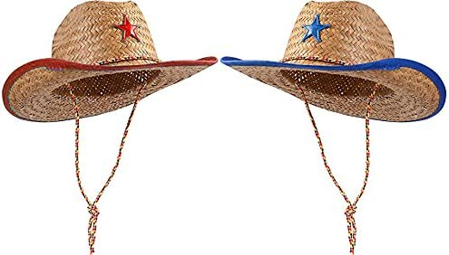 4Es Novelty Set of 12 Straw Sheriff Cowboy Hats Sheriff Costume for Kids Boys